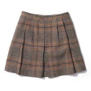 Club Monaco Brown Tweed Pleated Mini Skirt